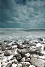Stones, sea, coast, clouds