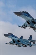 Preview iPhone wallpaper Su-27 fighter, flight, sky