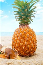 Preview iPhone wallpaper Summer, beach, pineapple, sunglasses, shell