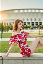 Preview iPhone wallpaper Summer girl, skirt, legs, sunshine