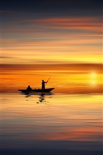 Preview iPhone wallpaper Sunset, sea, boat, silhouette