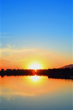 Preview iPhone wallpaper Sunset, sun rays, river, blue sky, clouds