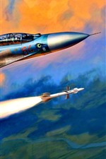 Preview iPhone wallpaper Supersonic fighter, rocket, art picture