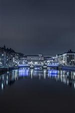 Suécia, gotemburgo, noturna, rio, edifícios, iluminação