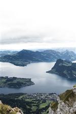 Switzerland, Europa, montanhas, Rio, vista superior