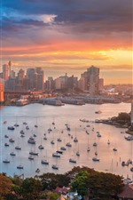Preview iPhone wallpaper Sydney, Australia, harbour, city, buildings, boats, bay, morning
