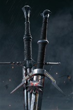 Preview iPhone wallpaper The Witcher 3: Wild Hunt, sword, hot game