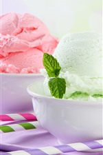Preview iPhone wallpaper Three bowls of ice cream, green mint leaves