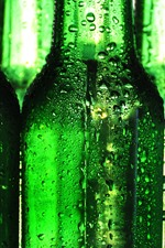 Preview iPhone wallpaper Three green bottles, water droplets
