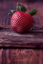 Three strawberries, fruit, wood