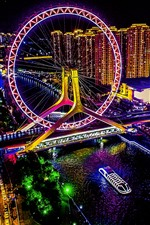 Preview iPhone wallpaper Tianjin, city night, ferris wheel, illumination, art style, China