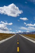 Tibet, road, snow mountains, clouds, blue sky