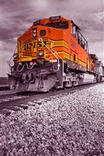 Preview iPhone wallpaper Train, railroad, rocks, clouds
