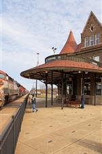 Estación de tren, tren, ferrocarril, casa