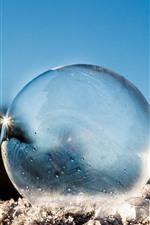 Esfera transparente, neve