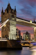 Preview iPhone wallpaper Travel to England, London, Tower Bridge, river, night, lights