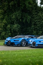 Preview iPhone wallpaper Two Bugatti Vision blue supercars