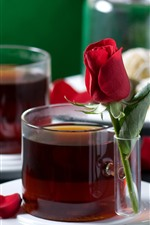 Preview iPhone wallpaper Two cups of tea, red roses, petals