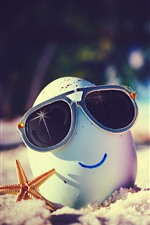 Preview iPhone wallpaper Two eggs, smile face, sunglasses, sands, creative photography