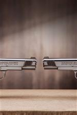 Preview iPhone wallpaper Two guns, pistol, weapon