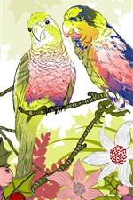 Preview iPhone wallpaper Two parrots, berries, flowers, art drawing