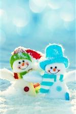 Two snowman, toys, snow, winter