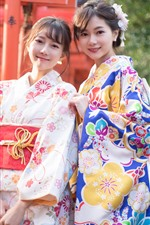 Preview iPhone wallpaper Two young Japanese girls, beautiful kimono