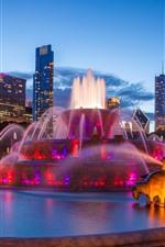 iPhone обои США, Чикаго, Букингемский фонтан, ночь, город, небоскребы, огни