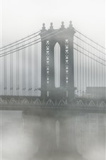 Preview iPhone wallpaper USA, New York, Brooklyn, bridge, fog, morning