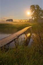 Preview iPhone wallpaper Village, river, wood bridge, grass, house, fog, sun, morning