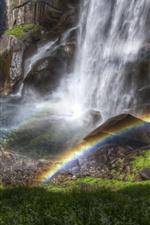Cascada, arroyo, salpicadura de agua, arco iris