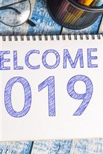 Bienvenida 2019, gafas, pluma