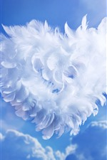 White feathers love heart, sky, sunshine