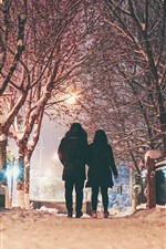 Preview iPhone wallpaper Winter, night, snow, trees, couple, rear view, lights, city