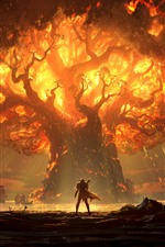 Preview iPhone wallpaper World of Warcraft: Battle for Azeroth, flame, tree