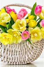Preview iPhone wallpaper Yellow and pink tulips, basket, white background