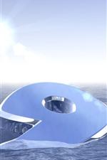 Preview iPhone wallpaper 3D 9, water, sun