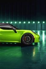 미리보기 iPhone 배경 화면 알파 로미오 4C 녹색 자동차 측면보기