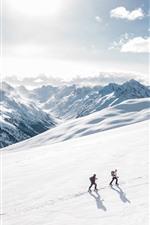 Alpine, snow, climber, sunshine, clouds, winter
