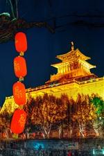 Edificio de la ciudad antigua, linternas, noche, luces, China