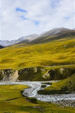 Preview iPhone wallpaper Animaqing Snow Mountain, peaks, creek, slope, clouds, Qinghai, China