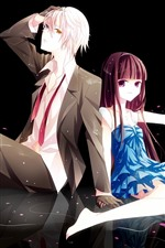 Preview iPhone wallpaper Anime girl and boy, pink petals, romantic