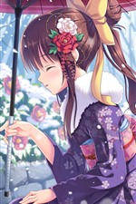 Preview iPhone wallpaper Anime girl and rabbit, winter, snow, umbrella