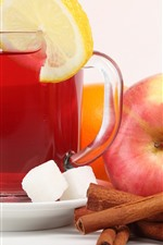 Preview iPhone wallpaper Apples, tea, cinnamon, lemon slice, sugar