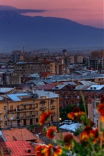 Preview iPhone wallpaper Armenia, city, buildings, flowers, dusk