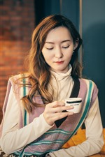 Preview iPhone wallpaper Asian girl drink coffee