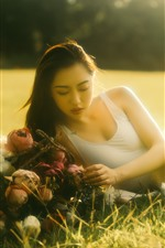 Preview iPhone wallpaper Asian girl, under sunshine, lawn, summer, hazy