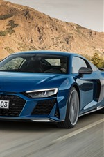 Audi R8 2019 blue car speed