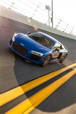 Preview iPhone wallpaper Audi blue car speed, race track