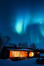 Preview iPhone wallpaper Aurora borealis, starry, house, trees, snow, night, lights